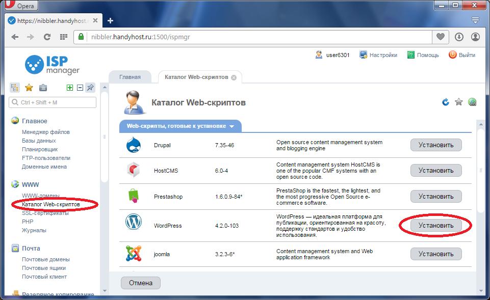 Установка WordPress в 1 клик из панели управления хостингом