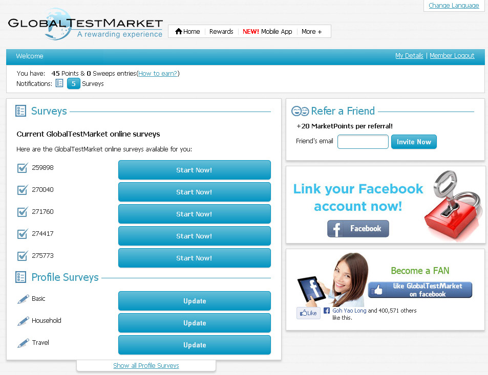 GlobalTestMarket скриншот