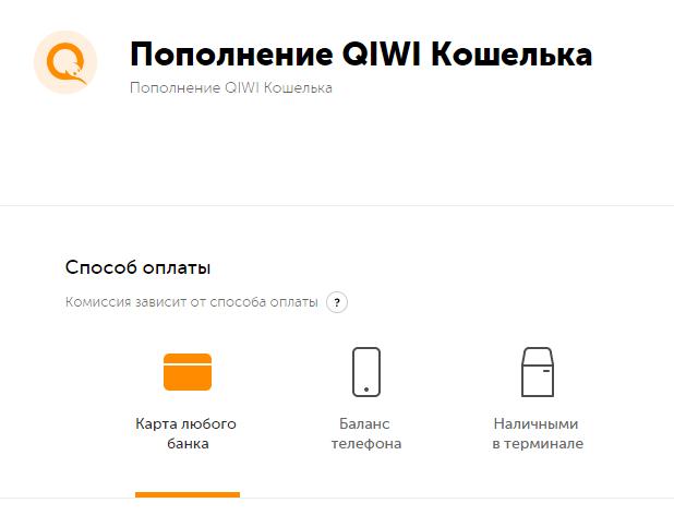 Перевод средств на кошелек с банковской карточки