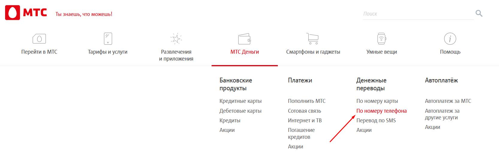 Перевод денег с МТС на Мегафон через сайт МТС