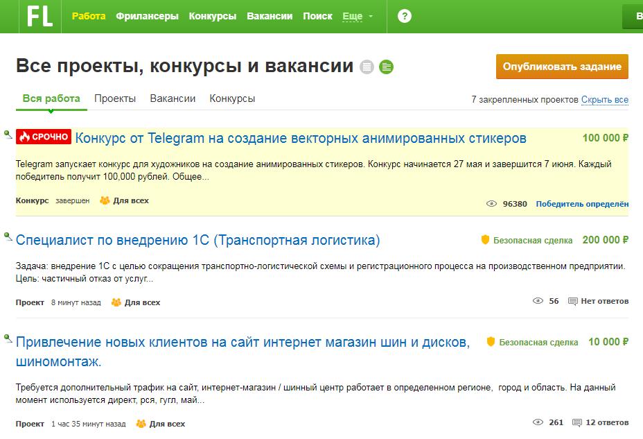 Заработок с FL.ru